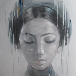 8.ArtBlue Studio_Phuong Quoc Tri_Lady with traditional head scarf 2_110x110cm_Oil on canvas
